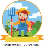 vector illustration of farmer... | Shutterstock .eps vector #297267083
