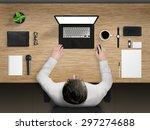 worker in office desk mockup... | Shutterstock . vector #297274688