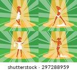 striptease girl show  poses on...   Shutterstock . vector #297288959