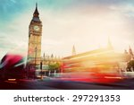 london  the uk. red buses in... | Shutterstock . vector #297291353