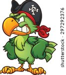 Angry Pirate Parrot. Vector...