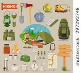 hiking and camping. summer... | Shutterstock .eps vector #297292748