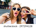cute outdoor portrait of funny... | Shutterstock . vector #297294128