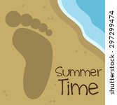 footprint in the sand summer... | Shutterstock .eps vector #297299474