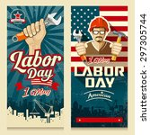 happy labor day american banner ... | Shutterstock .eps vector #297305744