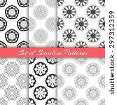 vector set of seamless floral... | Shutterstock .eps vector #297312359