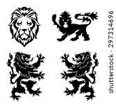 black lion heraldry set   Shutterstock .eps vector #297314696