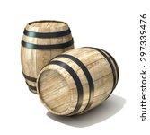 Wooden Wine Barrels. 3d Render...