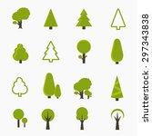 tree vector icons set  | Shutterstock .eps vector #297343838