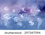 Stock photo currency symbols stock market background 297347594