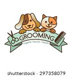 Stock vector creative rigorous logo grooming pets 297358079