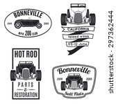 vector set of vintage hot rod... | Shutterstock .eps vector #297362444