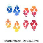 multicolored animal paw prints  ... | Shutterstock . vector #297363698