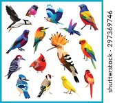 birds set of colorful low poly... | Shutterstock .eps vector #297369746