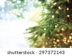 closeup of christmas tree... | Shutterstock . vector #297372143