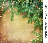 christmas fir tree border over... | Shutterstock . vector #297373889