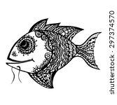 zentangle stylized fish. hand... | Shutterstock .eps vector #297374570