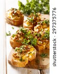 mushroom crostini | Shutterstock . vector #297375776