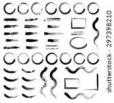 set of grunge brush strokes and ... | Shutterstock .eps vector #297398210