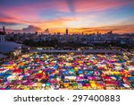 multi colored tents  sales of... | Shutterstock . vector #297400883