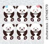 kawaii funny panda white muzzle ... | Shutterstock .eps vector #297408770