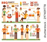 bbq party infographics | Shutterstock .eps vector #297409778