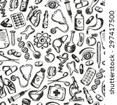 seamless pattern medical icons... | Shutterstock .eps vector #297417500