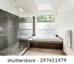 large furnished bathroom in... | Shutterstock . vector #297421979