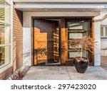 beautiful wood door as entrance ... | Shutterstock . vector #297423020
