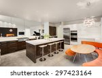new beautiful furnished kitchen ... | Shutterstock . vector #297423164
