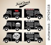 vector set of food truck on... | Shutterstock .eps vector #297424118