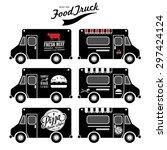 vector set of food truck | Shutterstock .eps vector #297424124