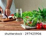 fresh salad of summer... | Shutterstock . vector #297425906