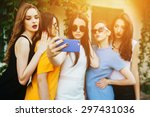 five beautiful young girls make ... | Shutterstock . vector #297431036