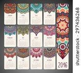 calendar 2016. vintage... | Shutterstock .eps vector #297436268