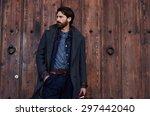 handsome confident mature man... | Shutterstock . vector #297442040