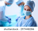 team surgeon at work in... | Shutterstock . vector #297448286