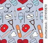 seamless pattern with medical... | Shutterstock .eps vector #297455870