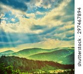 fairy tale forest in retro... | Shutterstock . vector #297467894