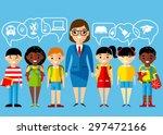 set of multicultural pupils ... | Shutterstock .eps vector #297472166