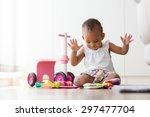 portrait of little african... | Shutterstock . vector #297477704