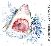 shark attack t shirt graphics.... | Shutterstock . vector #297479750