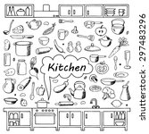 set hand drawn kitchen doodles. ... | Shutterstock .eps vector #297483296