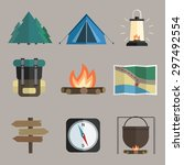 vector set of hiking icons.... | Shutterstock .eps vector #297492554