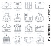 government building icons set... | Shutterstock .eps vector #297500420