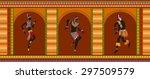 africans dance ethnic dance in... | Shutterstock .eps vector #297509579