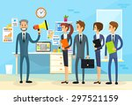 businessman boss hold megaphone ... | Shutterstock .eps vector #297521159