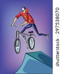 teenager riding mountain bike.... | Shutterstock .eps vector #297538070