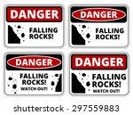 Set Of Danger Falling Rocks...