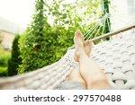 man in a hammock on a summer... | Shutterstock . vector #297570488